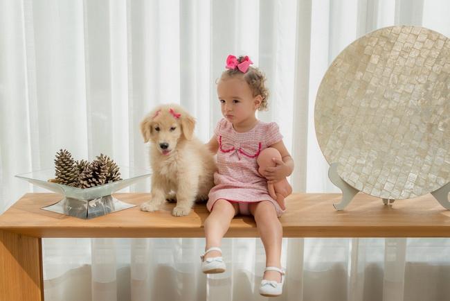 ensaio fotografico bebe e filhote cachorro