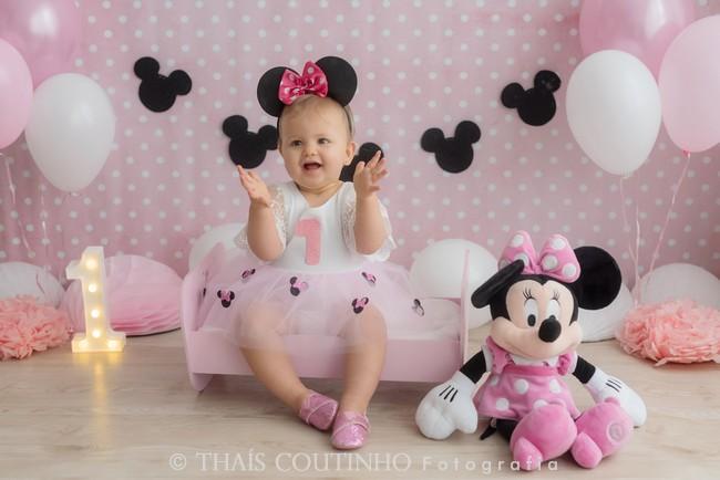 Ensaio Bebê 1 ano, Minnie Rosa